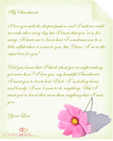 Missing you love letter to my wife