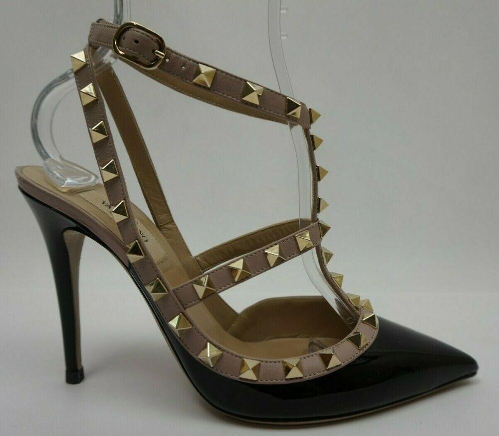 2110a78421a6 eBay  Sponsored Valentino Rockstud T-Strap Black Blush Pumps Women s Heels  Size 38 EU