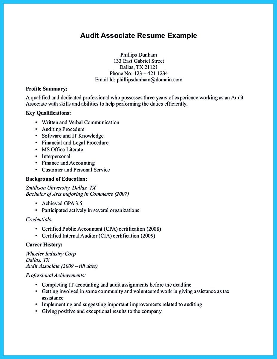 Auditor Resume Suppose You Are Confused To Arrange Auditor Resume It Is Better