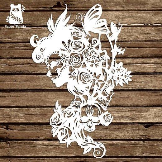 Paper panda papercut diy design template dia de los muertos paper panda papercut diy design template dia de los muertos paper panda maxwellsz