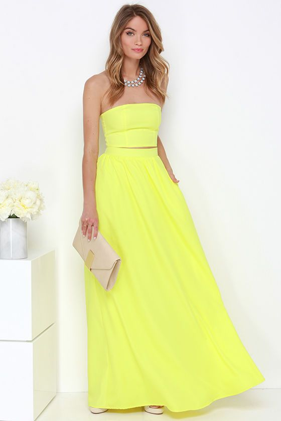 Maxed Out Yellow Two-Piece Maxi Dressat