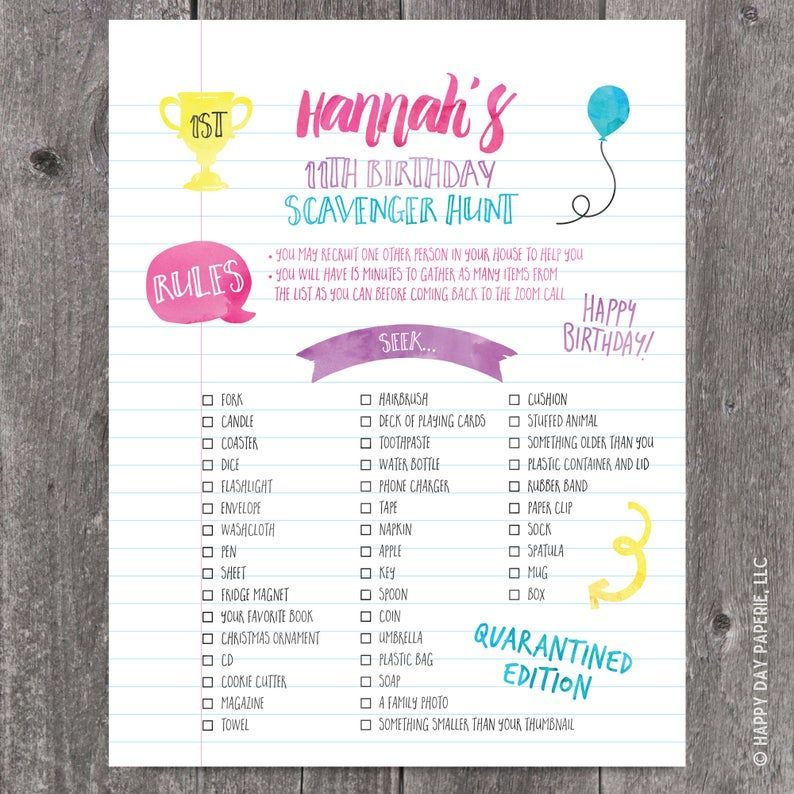 Virtual Scavenger Hunt Birthday Party Checklist