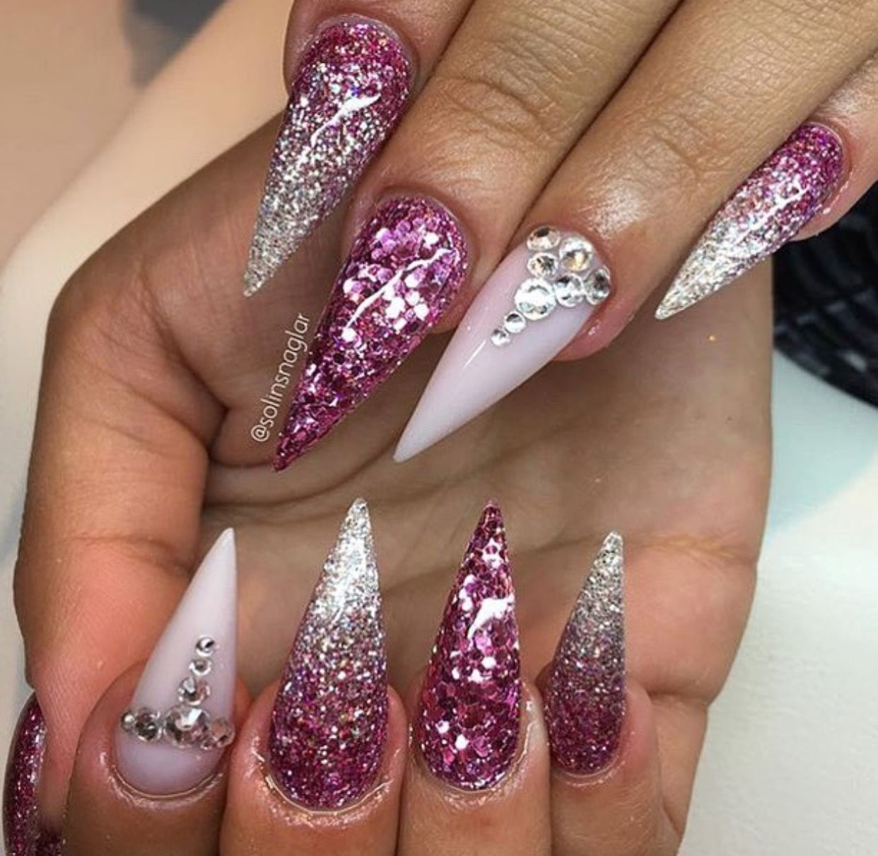 Custom dark pink glitter 3D stiletto nails | nails | Pinterest ...