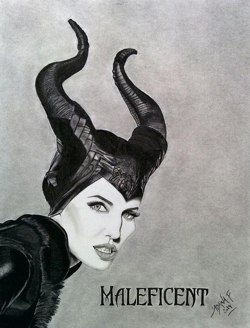 Maleficent mal fique dessin au fusain charcoal drawing - Dessin de malefique ...