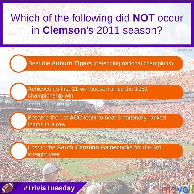 Happy #TriviaTuesday! Which of the following did NOT occur in #Clemson's 2011 season?
