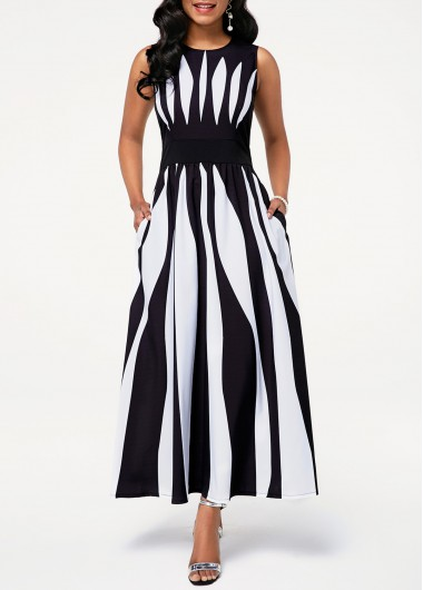 Stripe Print Pocket Dress
