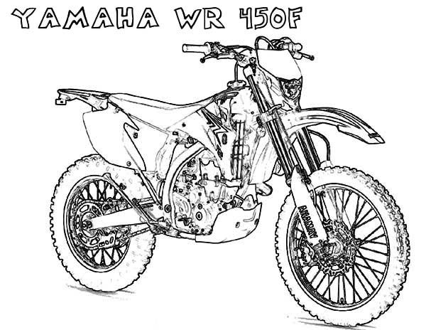 Yamaha wr450f motorcycle coloring page free printable for Motorcycle helmet coloring pages