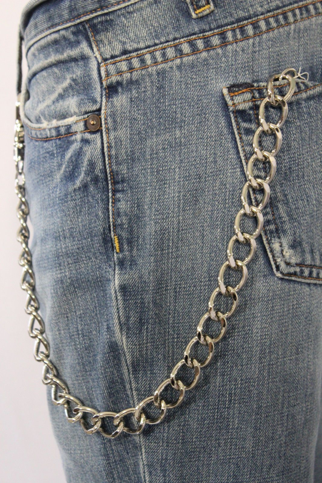 Men Silver Classic Chunky Metal Thick Wallet Chain KeyChain Biker Jeans Truck