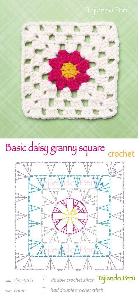 Crochet Basic Daisy Granny Square Pattern Diagram Or Chart