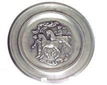 Vintage Pewter Plate with Embossed Horse Detail