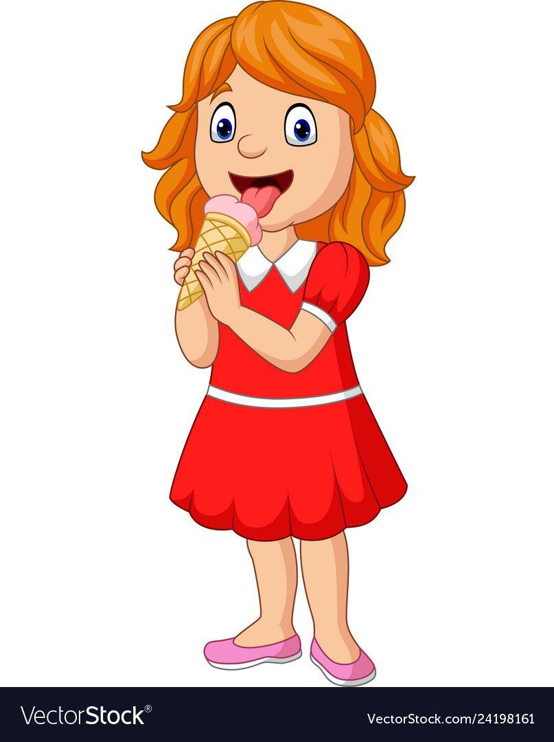 Cartoon Little Girl Eating An Ice Cream Royalty Free Vector In 2021 Cartoon Ice Cream Cartoon Cute Drawings