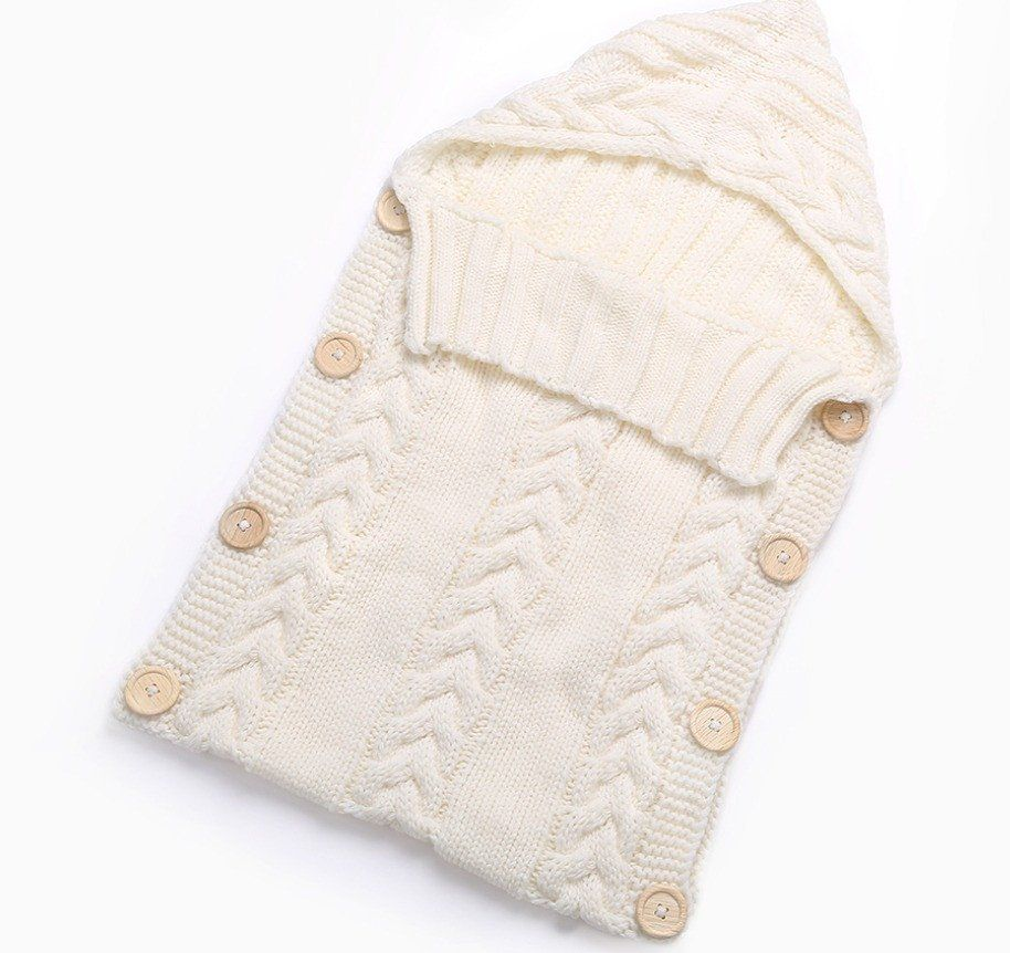 Cream Knitted Baby Boy or Girl Button Up Sleep Sack