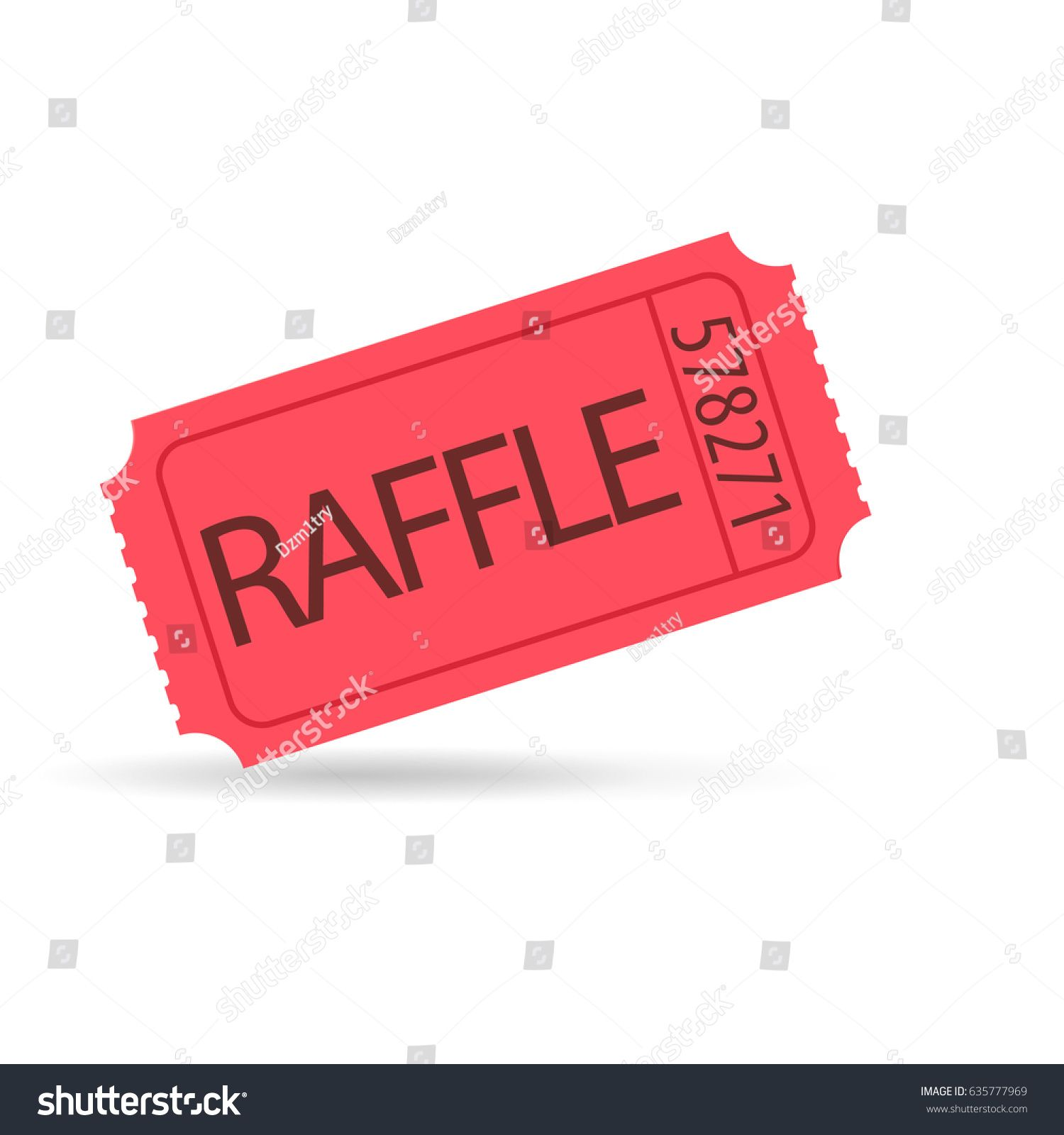 Red Raffle Ticket Icon Vector Image Isolated On White Background Raffle Tickets Icon Raffle