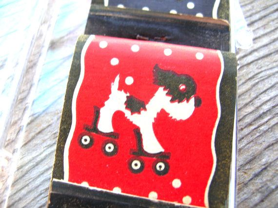 Dog Match Book - Vintage Match Books - Books Of Matches - Terrier - Dog on Roller Skater by BohemianGypsyCaravan