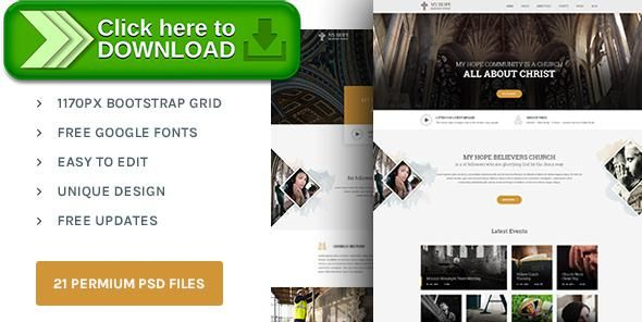 Free nulled MY HOPE  Church PSD template download Church events