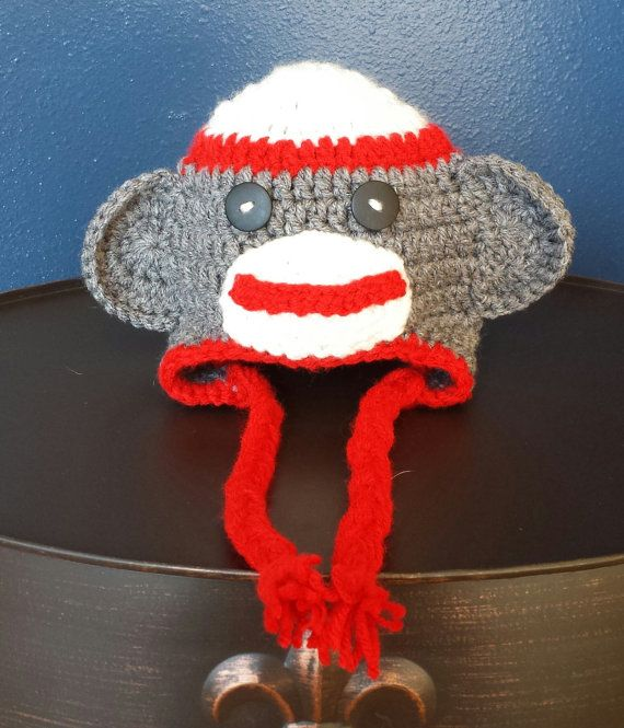 Sock Monkey Ear Flap Hat https://www.etsy.com/listing/181841704/sock-monkey-earflap-hat