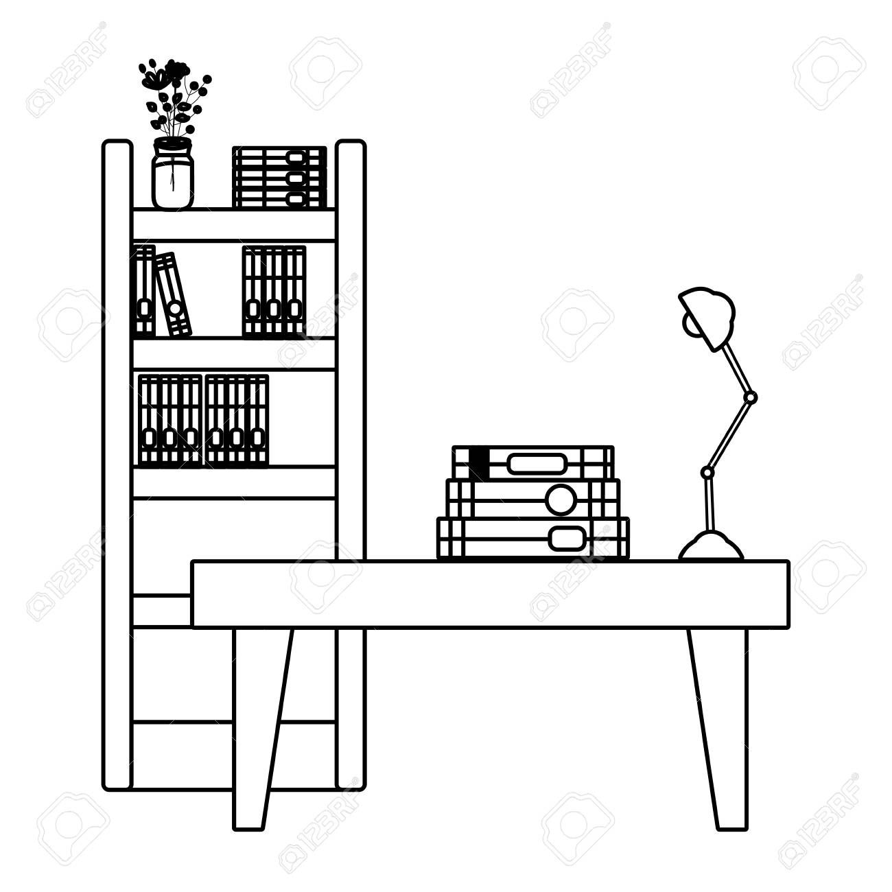 Bookcase Cartoon Black And White Creative Bookshelves Clipart Black And White Bookcase