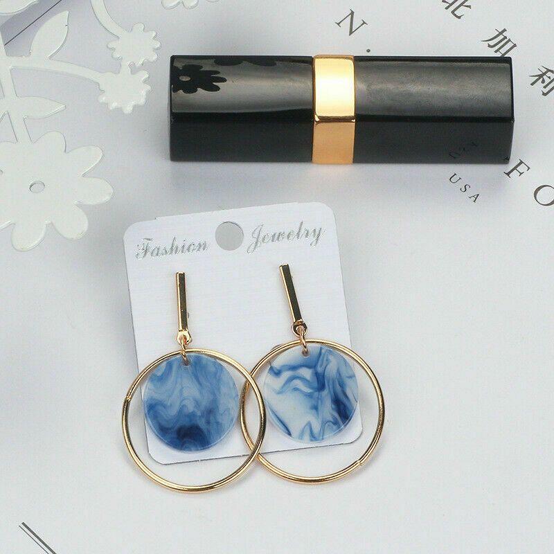Womens Water Drop Crystal  Ear Clip Stud Sea blue Earrings Jewelry Gifts.