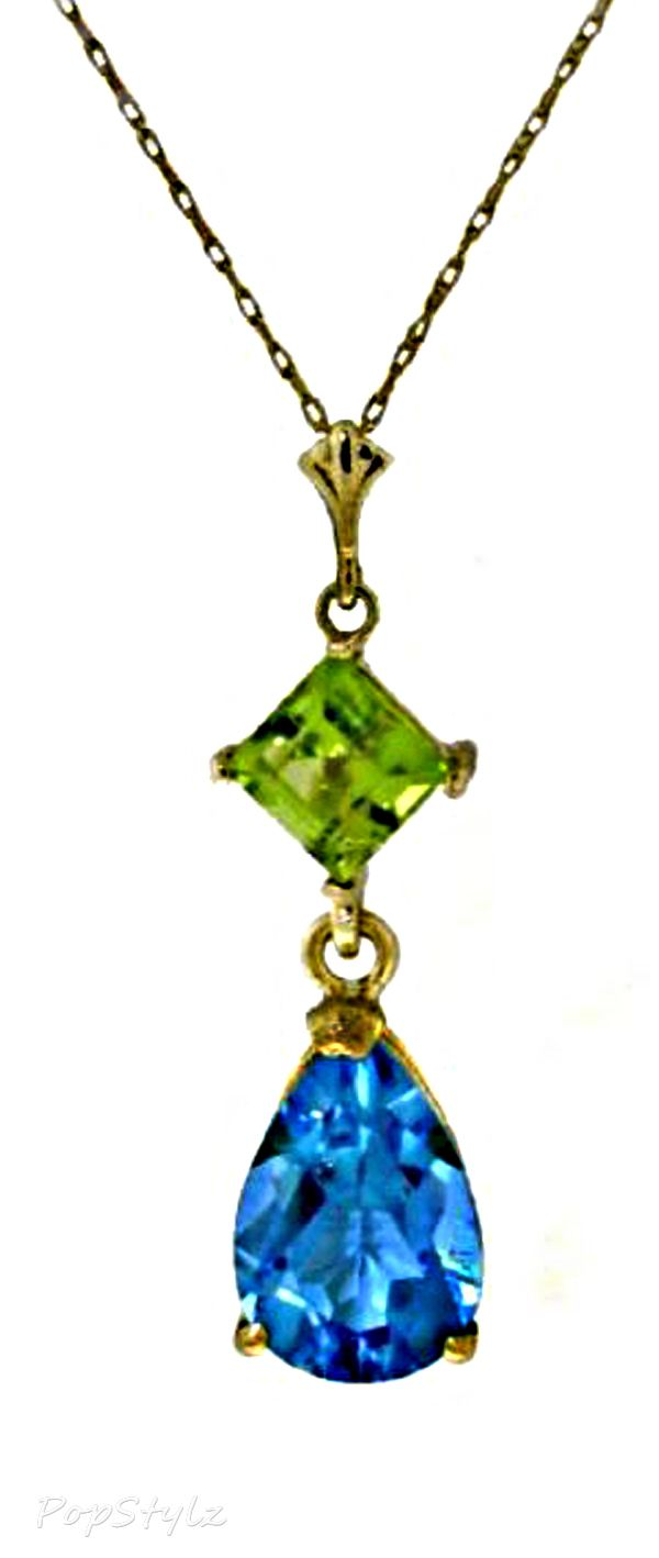 14K Gold Genuine Topaz & Peridot Necklace