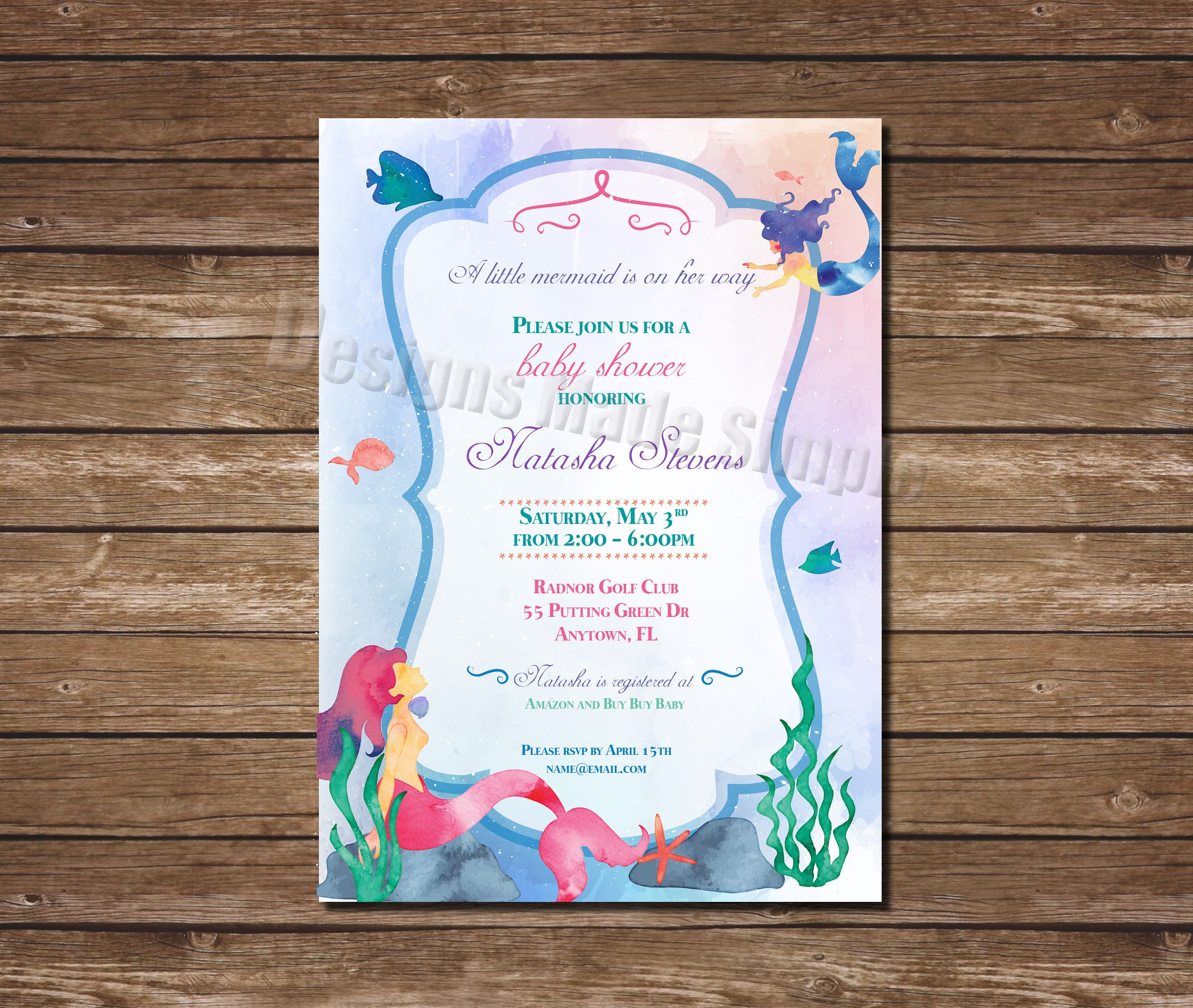 Little Mermaid Water Color Baby Shower Invitation - Printable by ...