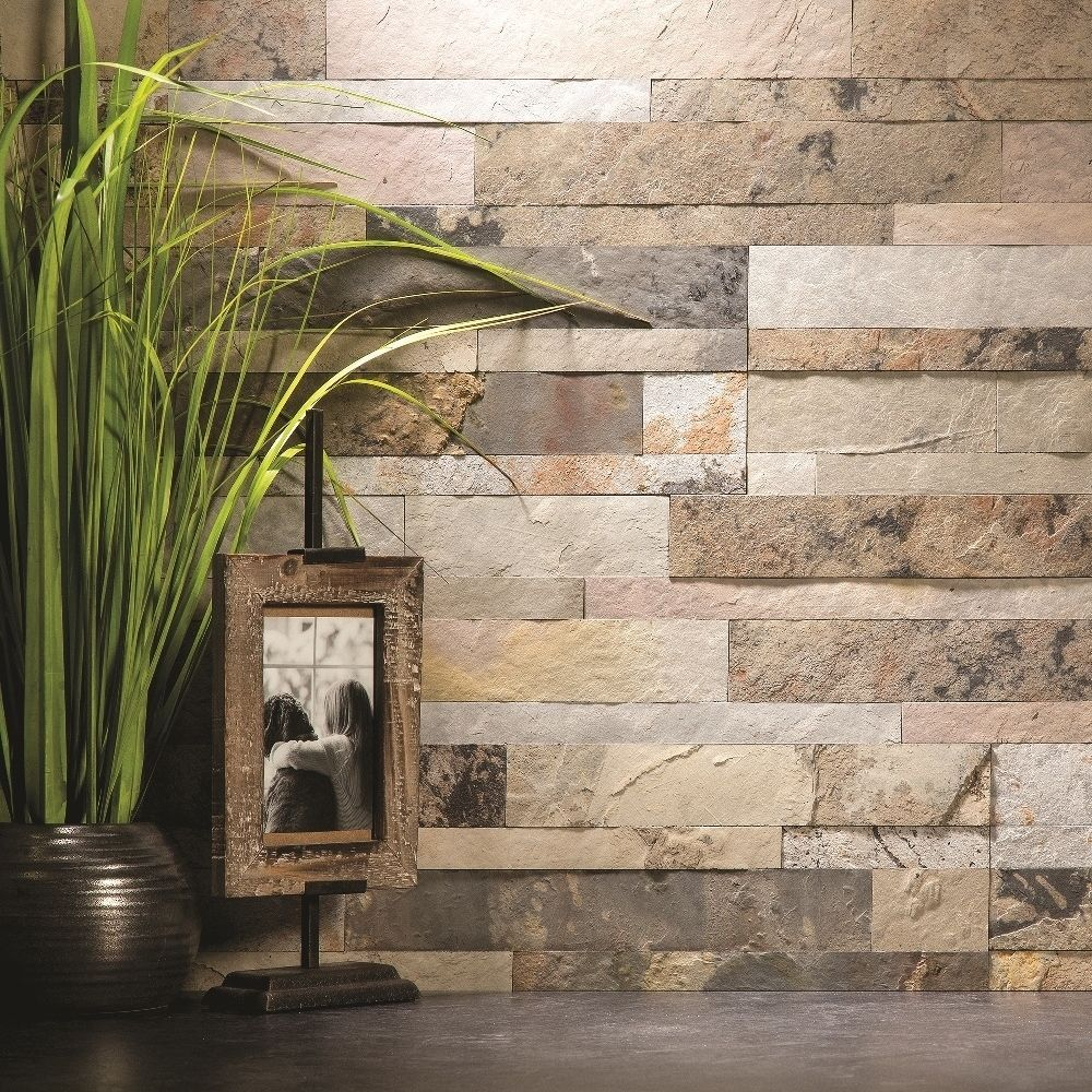 Aspect 6 x 24-inch Medley Slate Peel and Stick Stone Backsplash (6 x ...