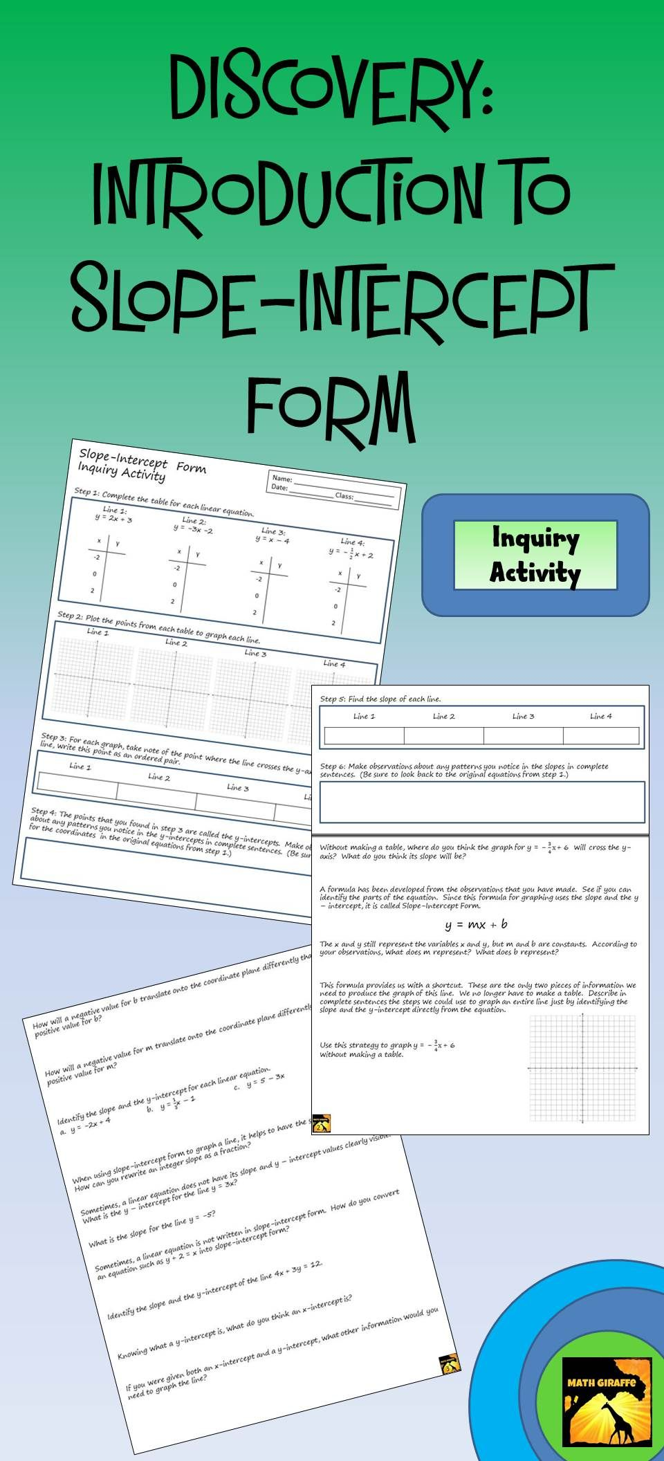 worksheet Introduction To Slope Worksheet slope intercept form inquiry activity discovery students and math introducing to through guided based lesson