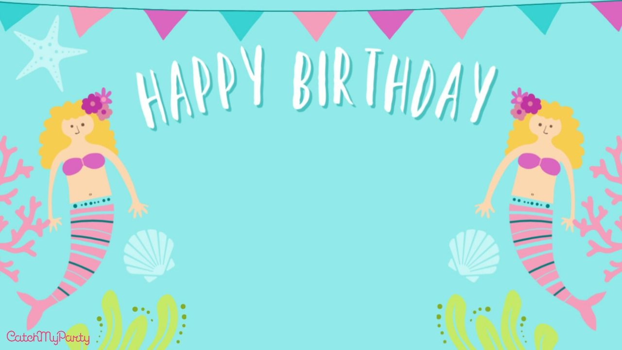 Free Zoom Backgrounds For Girl Virtual Birthday Parties Catch My Party In 2020 Kids Invitation Birthday Backdrops For Parties Mermaid Theme Birthday
