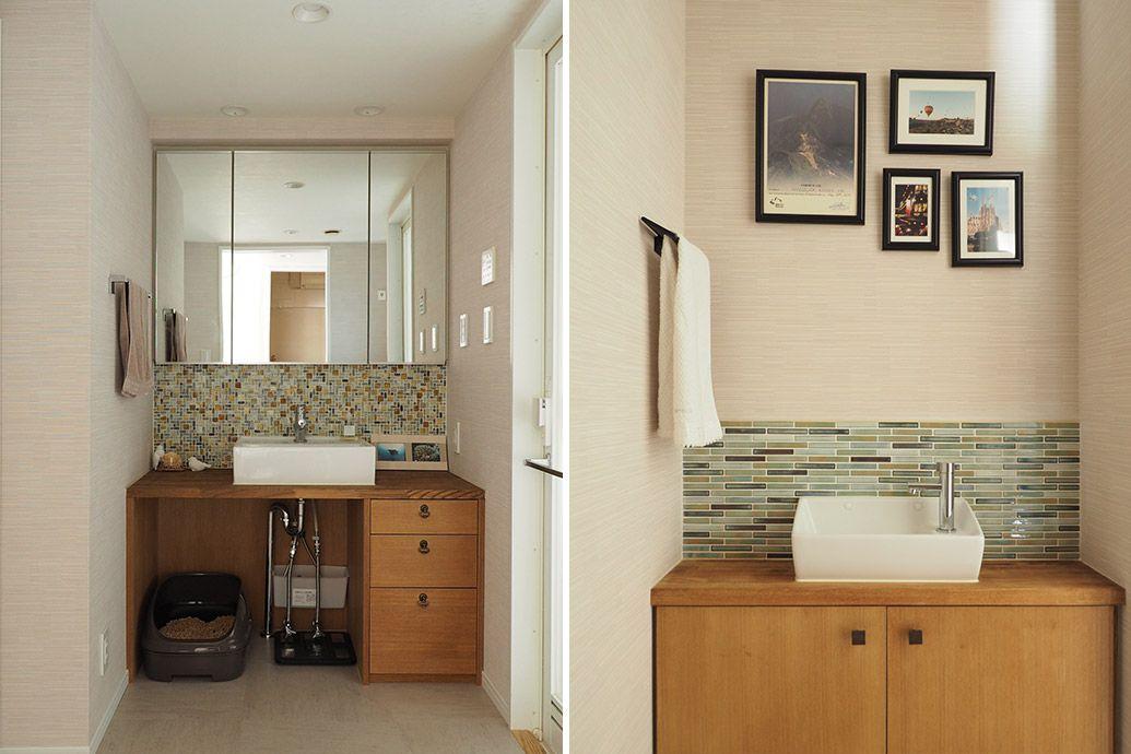お風呂に隣接する洗面室と トイレ洗面 猫用トイレは洗面台の下に置く