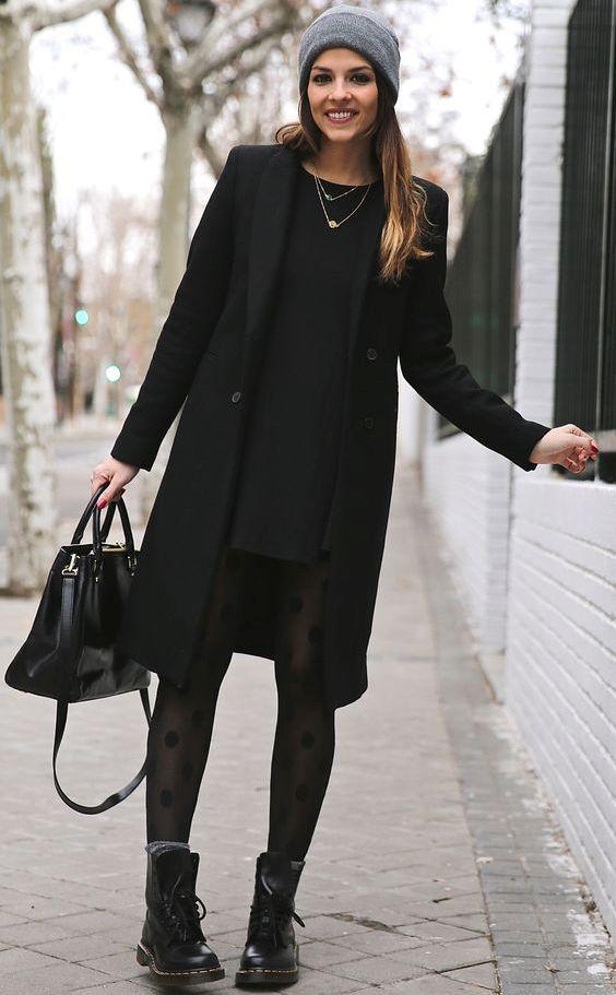 Conseils mode : Quel genre de manteau dois-je porter avec une robe ? Look Robe avec Manteau Noir #modafemenina