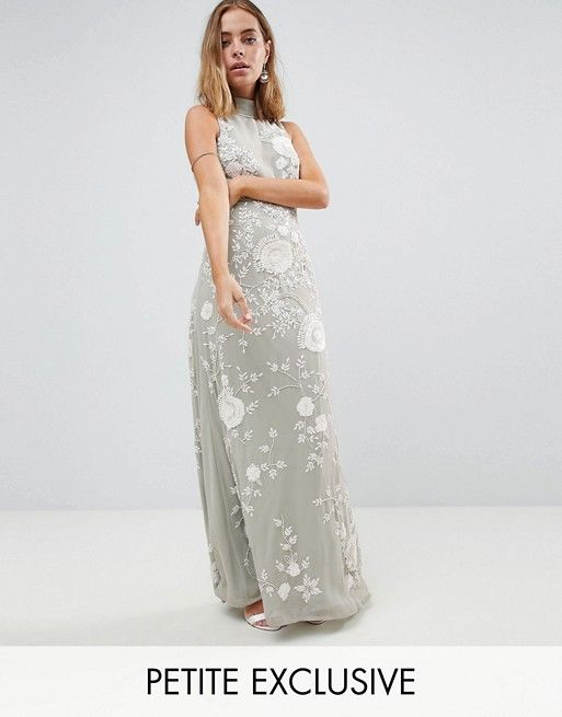Frock And Frill Premium All Over Embellished High Neck Trophy Maxi Dress - Grey/white Frock and Frill 1Pw1YEOfb