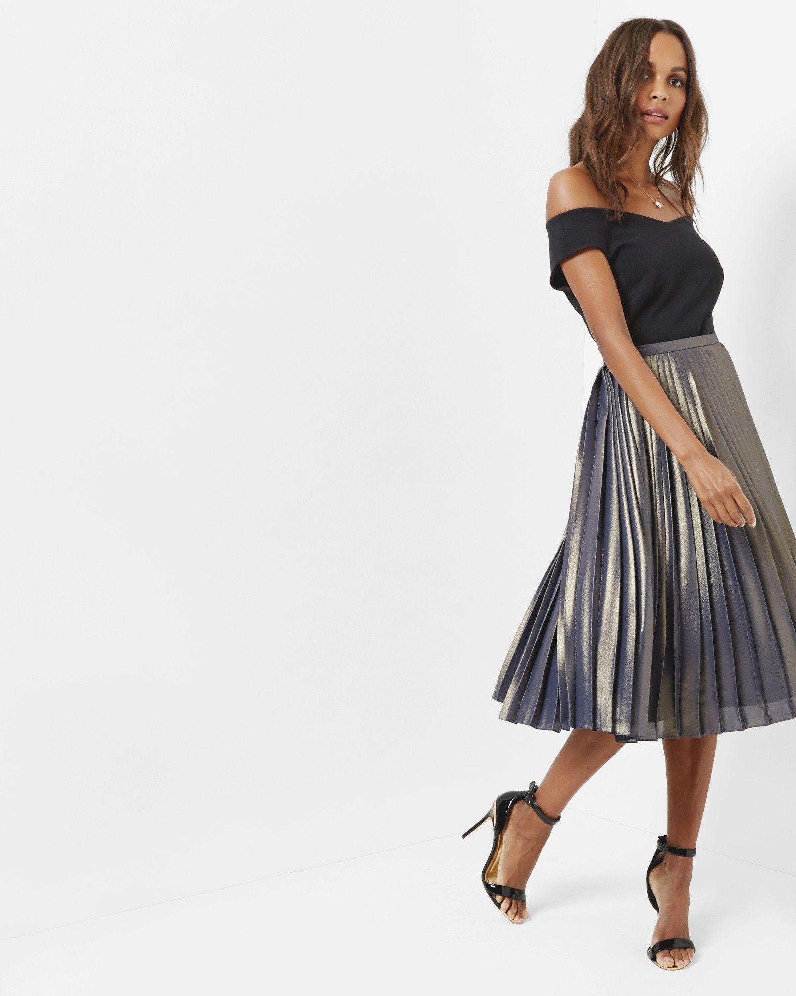 6e5a0f8ad Pleated metallic midi skirt - Gold | Skirts | Ted Baker UK | fashion ...