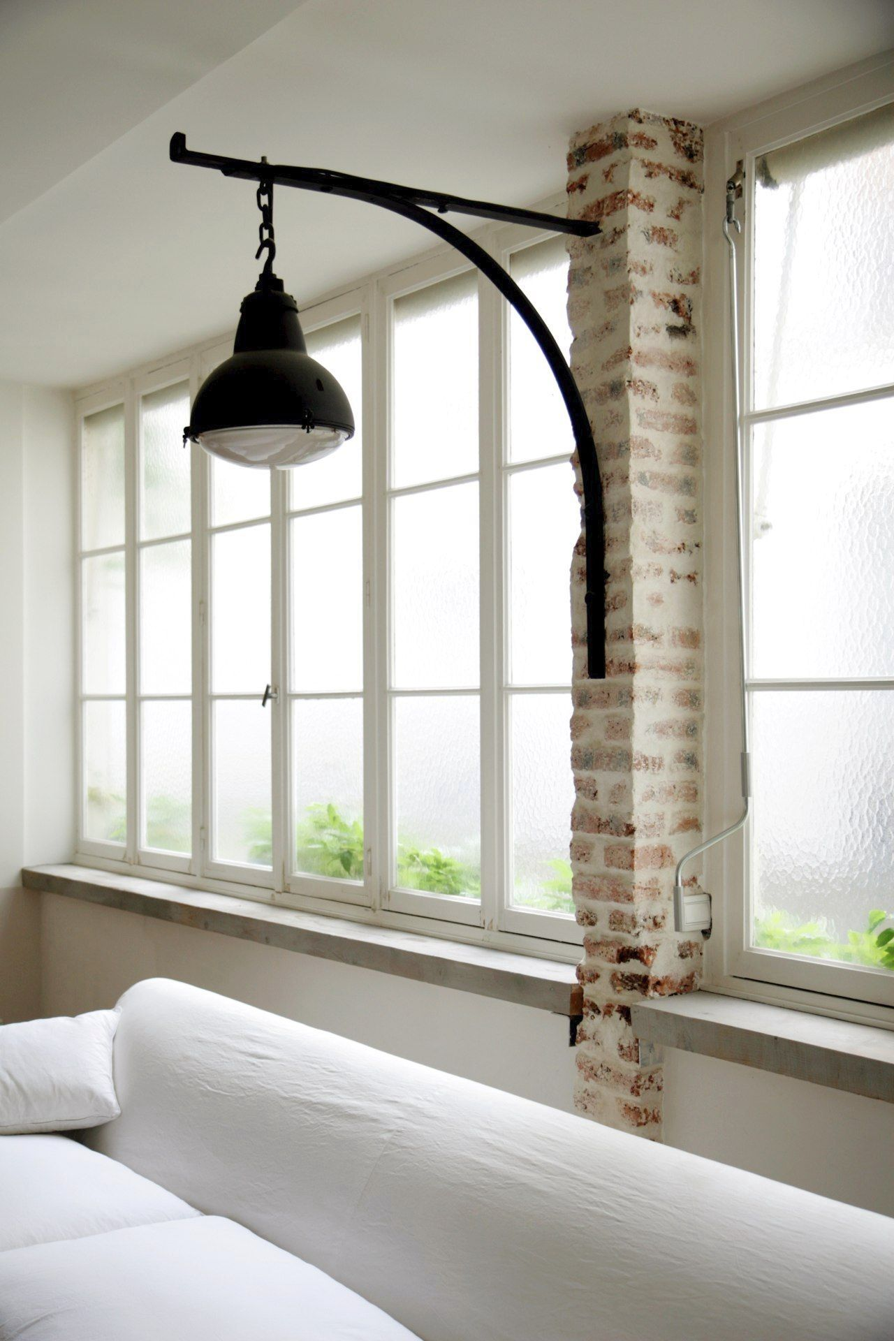love this indoor lightin idea! could also be mounted on a wood post or thick board against wall.