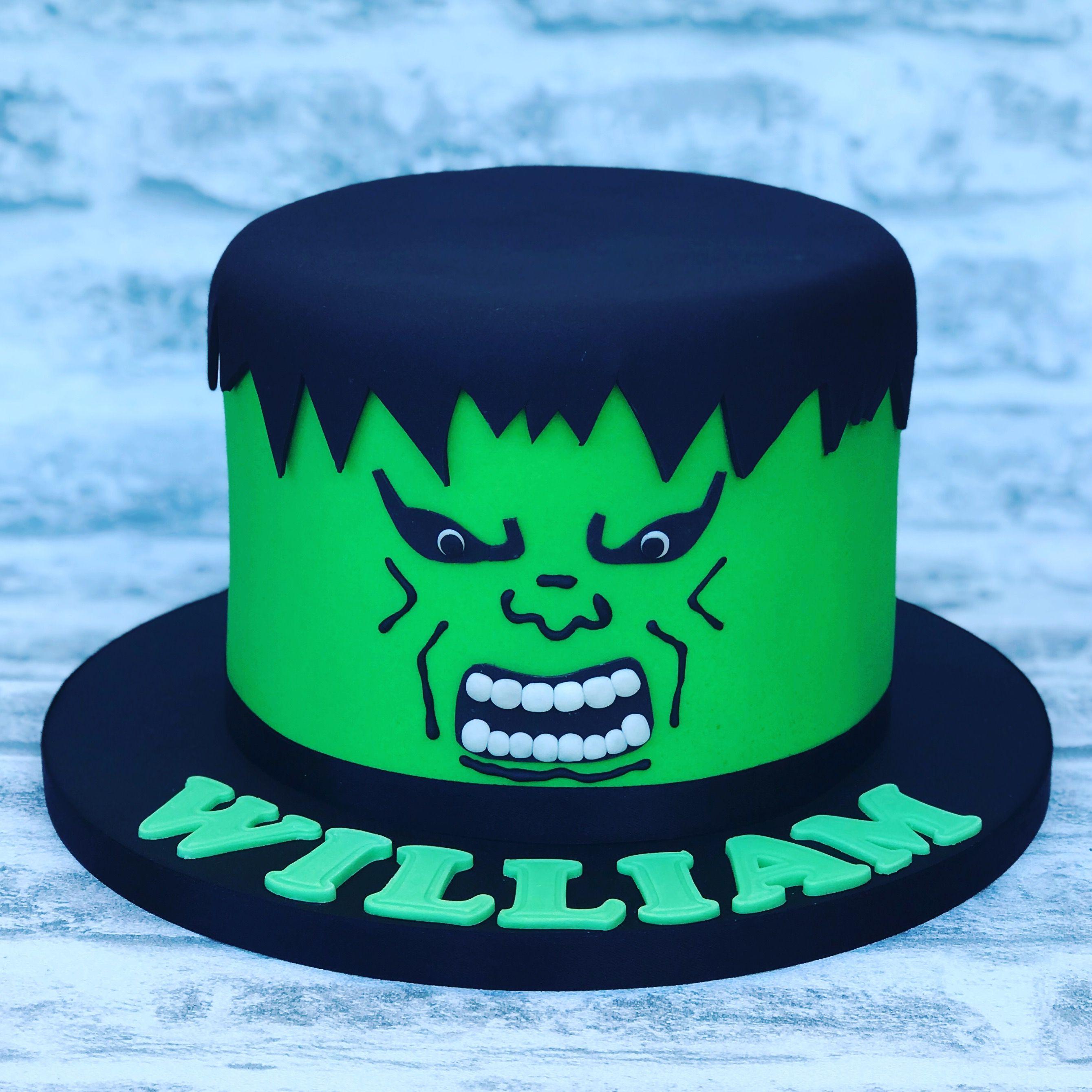 A bright green incredible hulk head cake Boys birthday cakes