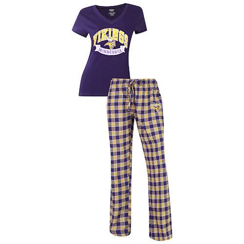 Minnesota Vikings Pajama Pants and V - Neck Top Set  45d6db85b