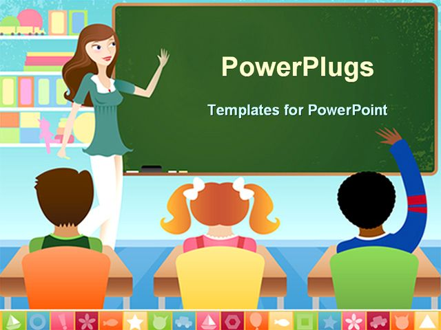 powerpoint template displaying teacher and three pupils in, Modern powerpoint