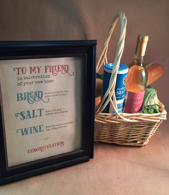 Home Blessing Bread Salt Wine Poem Fabric Print Housewarming