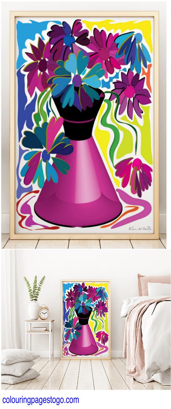 Wildflower poster flower prints purple abstract also rh pinterest