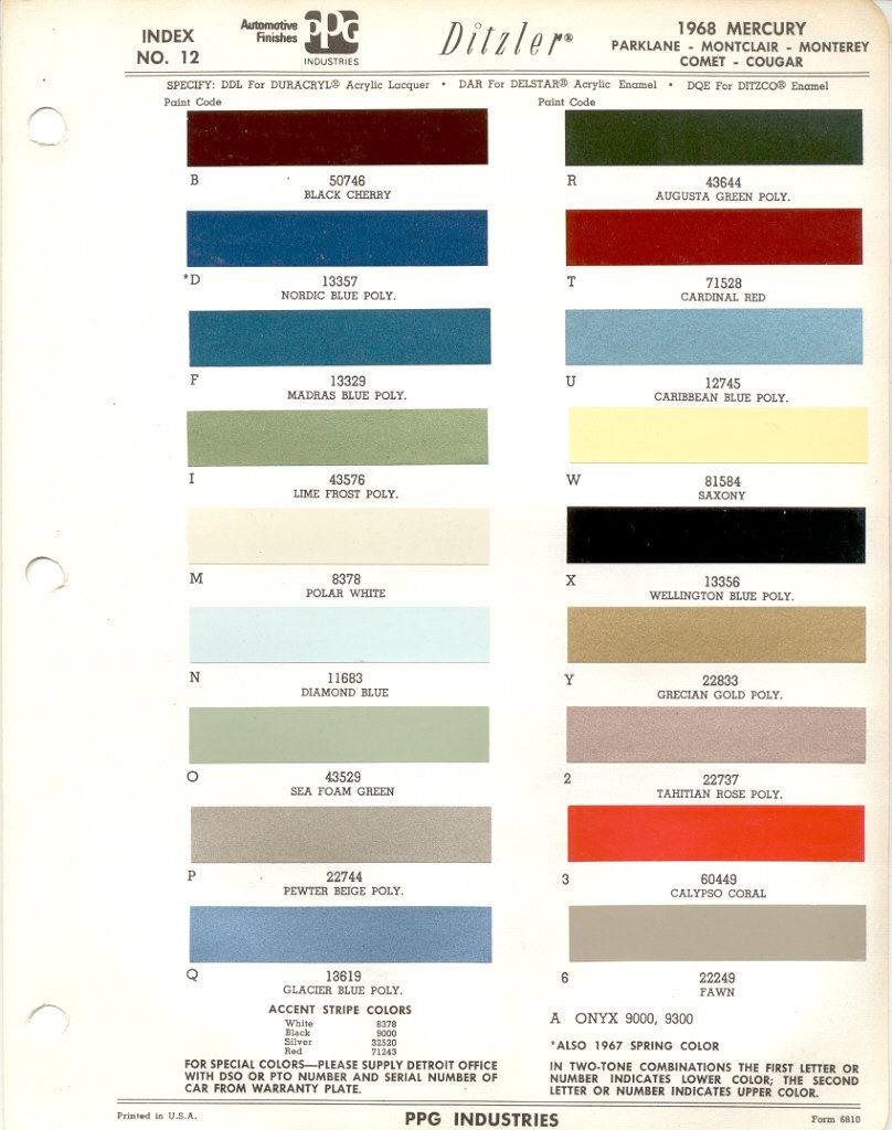 1968 Mercury Fairlane Ford Paint Chips
