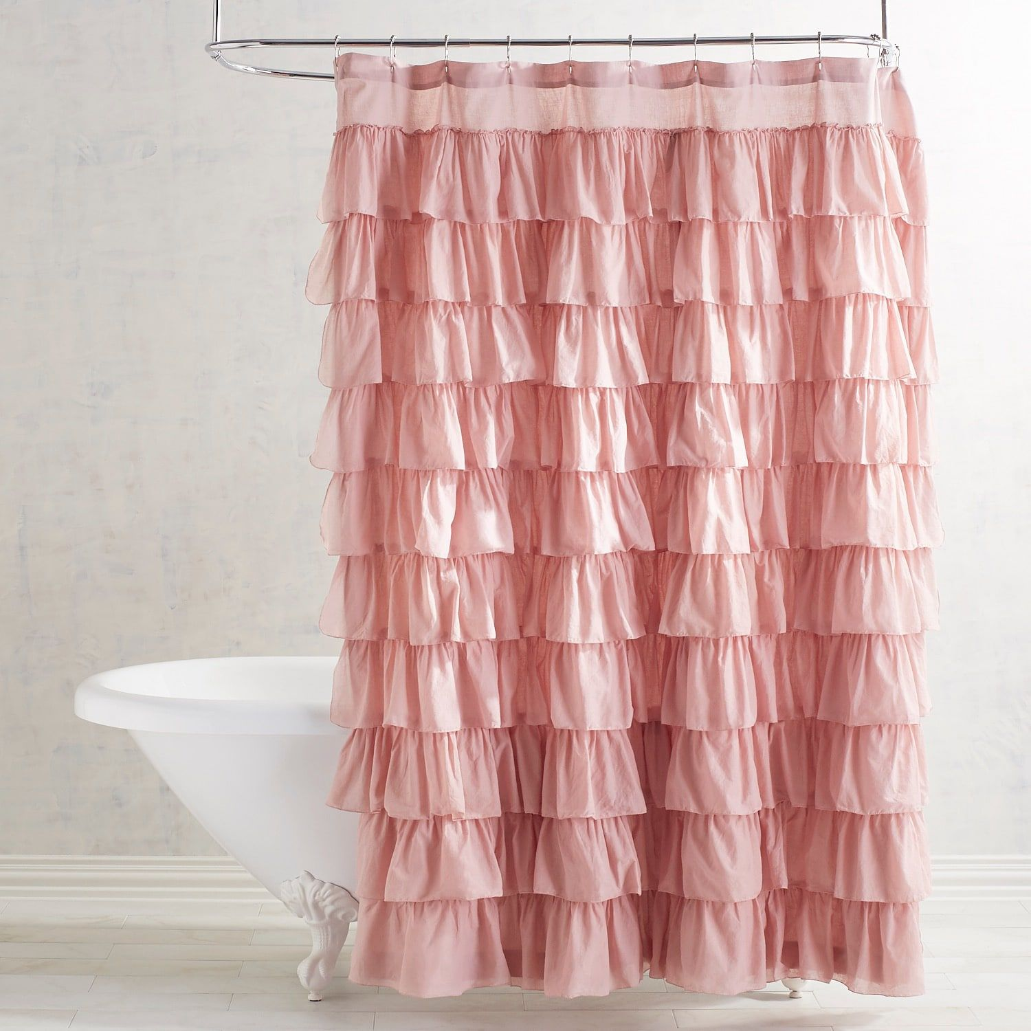 Matching Bedroom And Bathroom Sets: Ruffled Blush Shower Curtain