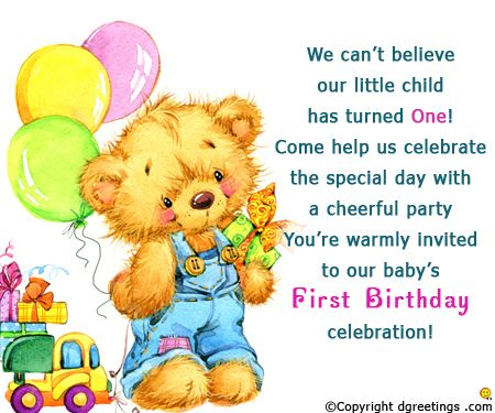 First Birthday Invitation Cards v Pinterest – Sample of Birthday Card Invitation