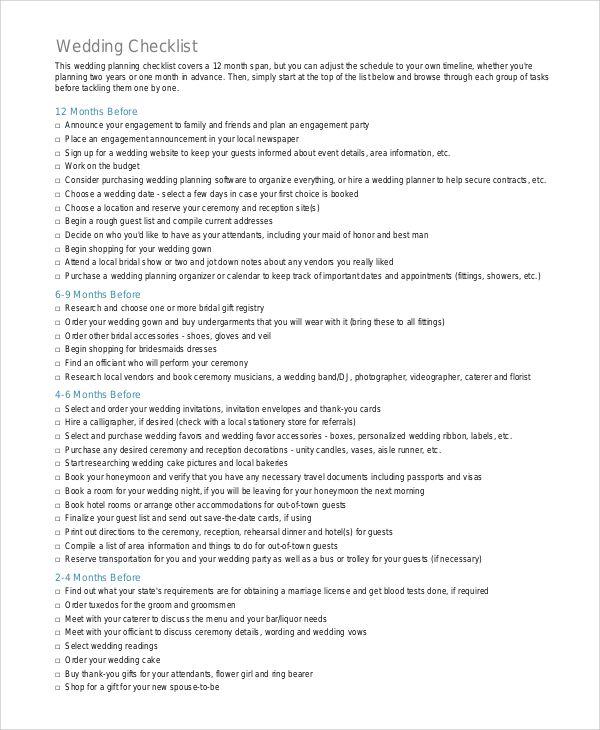 printable-wedding-checklist-pdf Check List Pinterest Pdf and