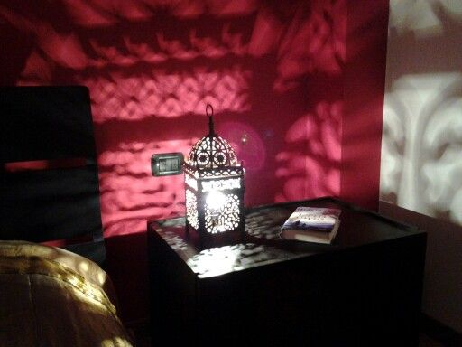 DIY lamp made with a Moroccan perforated metal lantern bought on Maison du monde in 1001 night bedroom - archiLAURA Home Design
