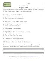 Circle the adjectives, underline the noun   2nd grade worksheets