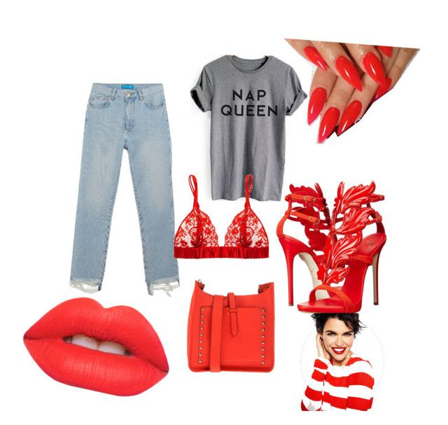 """Wild card"" by danyellsparks on Polyvore featuring M.i.h Jeans, Lime Crime, Giuseppe Zanotti and Rebecca Minkoff"