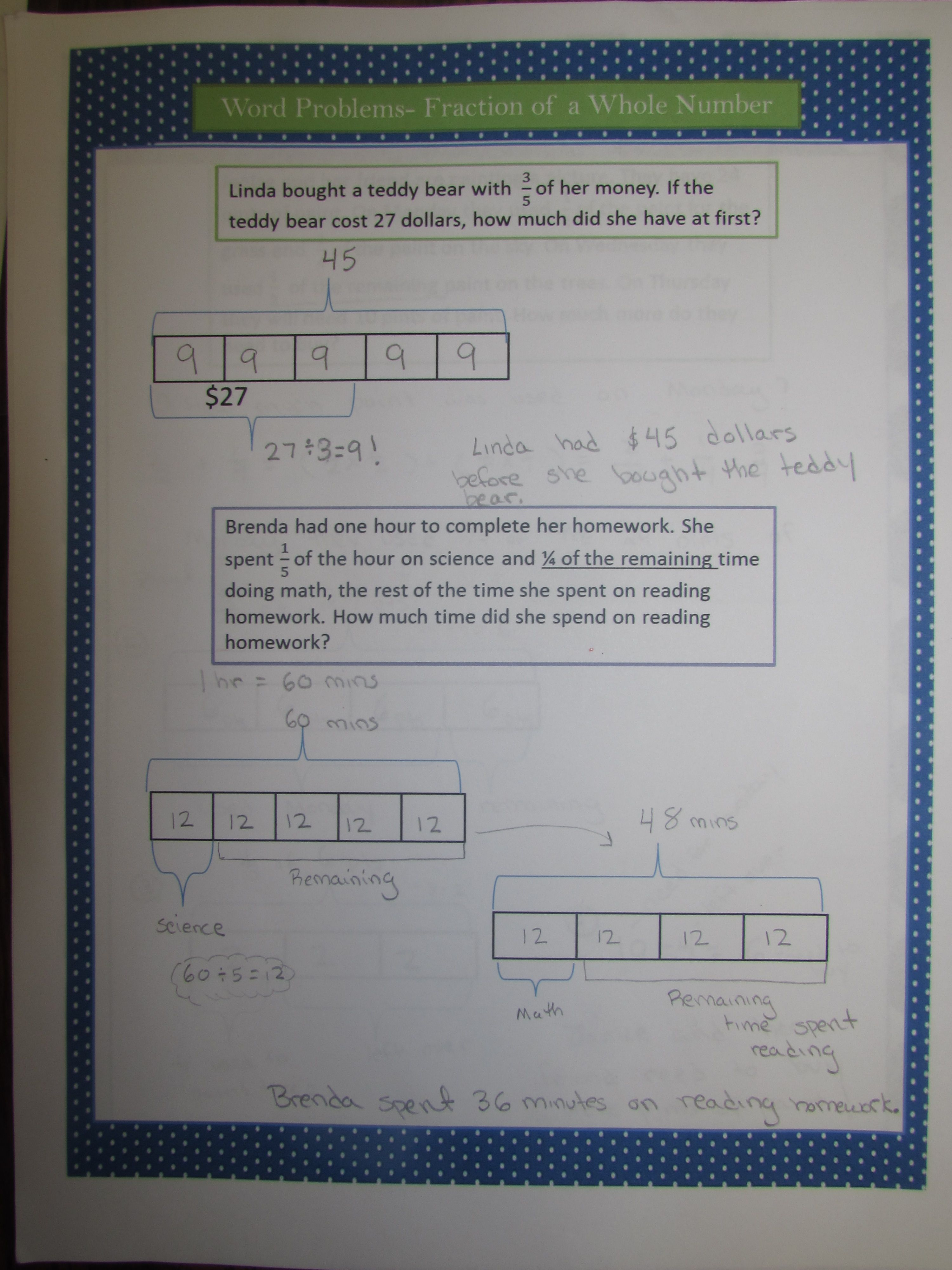 Tape Diagrams Page Of Common Core Word Problem