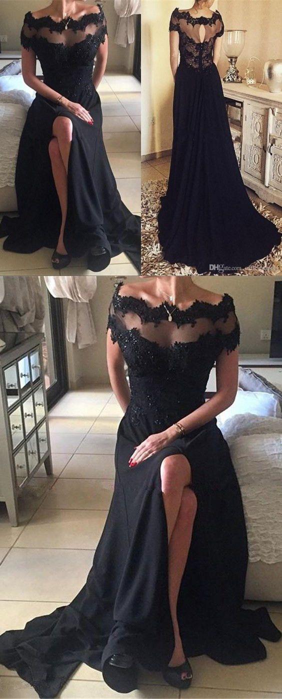 High quality off the shoulder short sleeves split long black prom