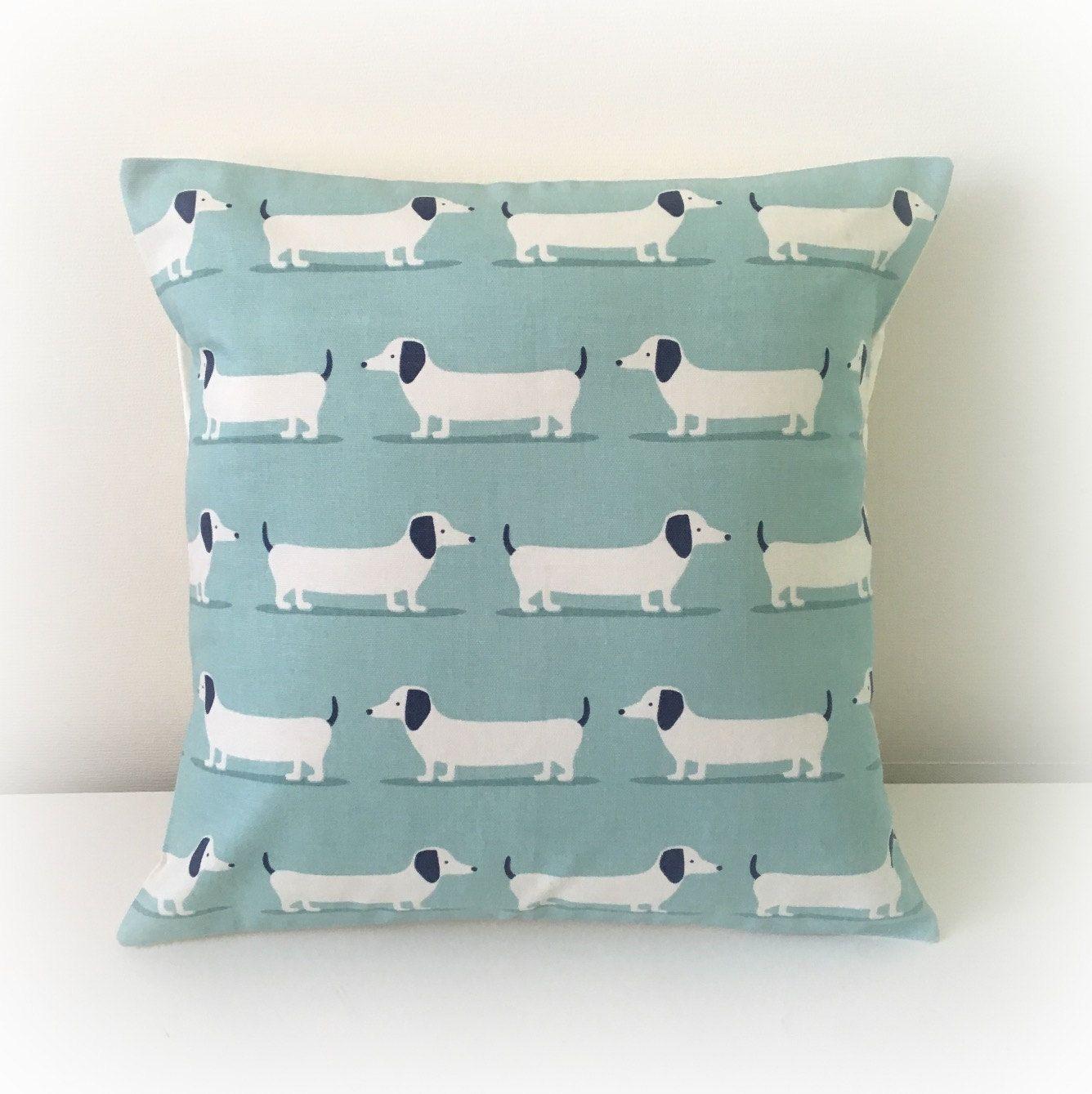 "Handmade Dachshund Sausage Dog Cushion Cover 16"" Cotton"