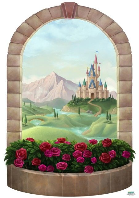 Princess castle window mural princess castle castles for Castle mural kids room