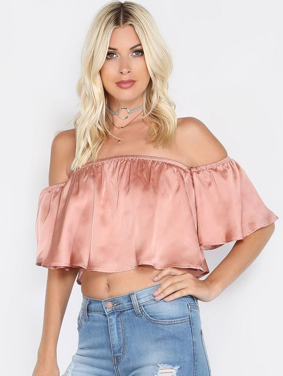 f20851b3911450 Online shopping for Satin Off the Shoulder Crop Top ROSE from a great  selection of women s fashion clothing   more at MakeMeChic.COM.