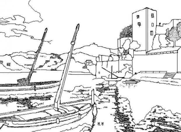 seaside port coloring page